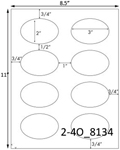 3 x 2 Oval<BR>Brown Kraft Printed Label Sheet<BR><B>USUALLY SHIPS IN 2-3 BUSINESS DAYS</B>