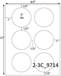 3 Diameter Round Clear Gloss Polyester Laser Label Sheet<BR><B>USUALLY SHIPS SAME DAY</B>