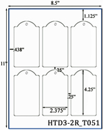 2.375 x 4.25 Dome-top Rectangle Micro-nikked Hang Tag Sheet<BR>w/ pre-drilled 3/16 hole<BR><B>USUALLY SHIPS SAME DAY</B>
