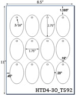 1.75 x 2.75 Oval Micro-nikked Hang Tag Sheet<BR>w/ pre-drilled 3/16 hole<BR><B>USUALLY SHIPS SAME DAY</B>