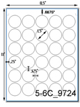 1 1/2 Diameter Round Clear Gloss Polyester Laser Label Sheet<BR><B>USUALLY SHIPS SAME DAY</B>