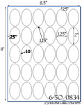 1 1/4 x 2 Oval Clear Gloss Polyester Laser Label Sheet<BR><B>USUALLY SHIPS SAME DAY</B>