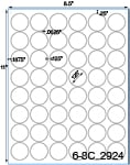 1 1/4 Diameter Round Clear Gloss Polyester Laser Label Sheet<BR><B>USUALLY SHIPS SAME DAY</B>